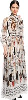 Dolce & Gabbana Cats Printed Silk Chiffon Dress