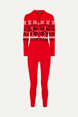 Perfect Moment Nordic Intarsia Wool Bodysuit - Red