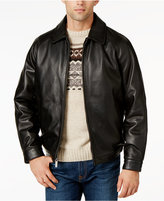 Nautica Leather Lay-Down Bomber Jacket