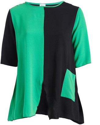 Green & Black Seven Karat Women's Tunics green Color-Block Pocket Tunic - Plus