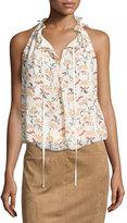 Max Studio Ruffled Tie-Neck Floral-Print Top, Garnet/Floral Leaf