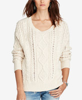 Denim & Supply Ralph Lauren Cable-Knit Crew-Neck Sweater