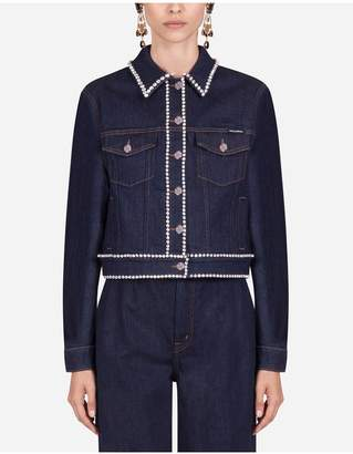 Dolce & Gabbana Denim Jacket With Rhinestone Details