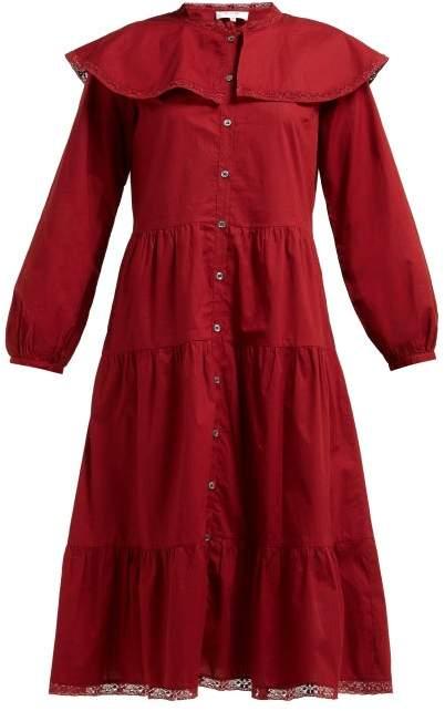 Sea Sailor Collar Tiered Cotton Midi Shirtdress - Womens - Red