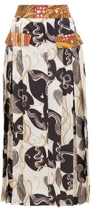 La Prestic Ouiston Shawna Silk Floral-print Midi Skirt - Ivory Multi