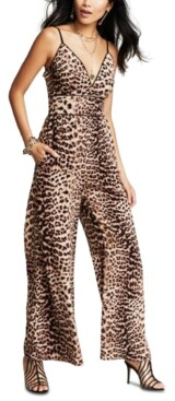 INC International Concepts Cheetah Adjustable Strap Jumpsuit, Created for Macy's