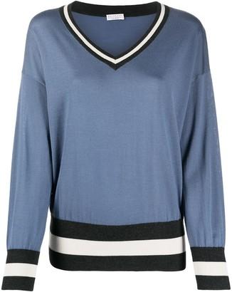 Brunello Cucinelli stripe-hem V-neck sweater