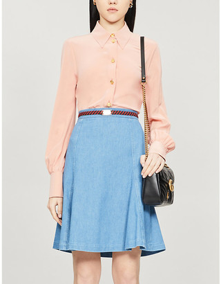 Gucci Belted flared denim midi skirt
