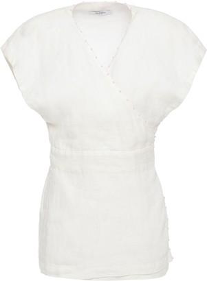 Marysia Swim Pompom-embellished Linen Wrap Top