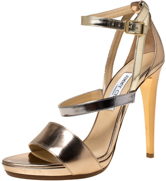 Jimmy Choo Gold/Silver Patent Leather Open Toe Ankle Strap Sandals Size 41