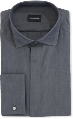 Ermenegildo Zegna Men's Solid Melange Trim-Fit Cotton Dress Shirt
