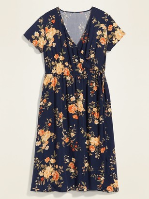 Old Navy Soft-Woven Wrap-Front Plus-Size Fit & Flare Midi Dress