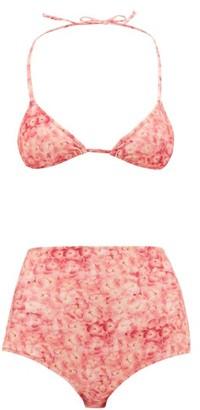 Adriana Degreas Hydrangea-print Triangle Bikini - Womens - Pink Print