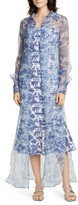 STAUD Frank Toile Print Long Sleeve Crepe Organza Maxi Shirtdress