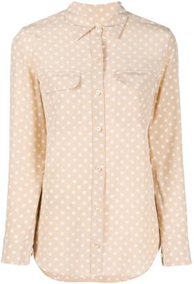 Equipment Long Sleeve Polka-Dot Print Silk Shirt