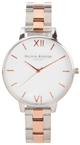 Olivia Burton Women's White Dial Bracelet Watch Silver & Rose Gold