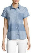 J Brand Wylie Two-Tone Denim Short-Sleeve Shirt, Blue