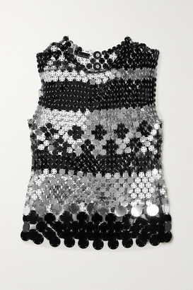 Paco Rabanne Paillette-embellished Chainmail Tank - Silver