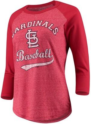 Majestic Women's Threads Red St. Louis Cardinals Team Baseball Three-Quarter Raglan Sleeve Tri-Blend T-Shirt