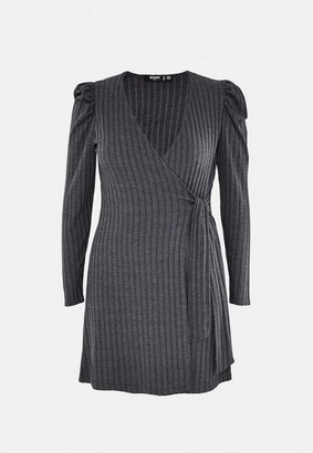 Missguided Plus Size Gray Rib Wrap Front Dress