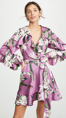 PatBO Orchid Print Mini Wrap Dress
