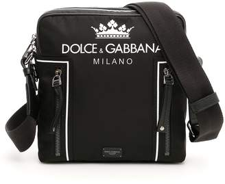 Dolce & Gabbana Nylon Messenger Bag With Crown And Logo