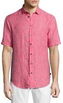 Armani Collezioni Mélange Linen Short-Sleeve Sport Shirt, Pink