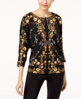 JM Collection Petite Printed Dolman-Sleeve Top, Created for Macy's
