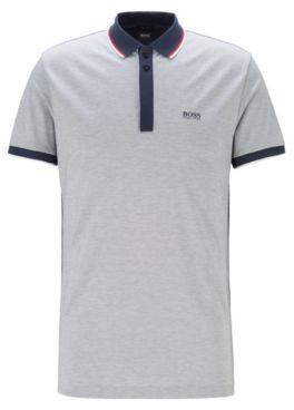HUGO BOSS Cotton Pique Polo Shirt With Tipping Stripes - Dark Blue