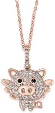 """Effy Diamond Flying Pig 18"""" Pendant Necklace (1/3 ct. t.w.) in 14k Rose Gold"""