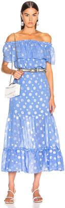 Rixo Queenie Dress in Lilac Blue Gold Spot | FWRD