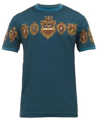 Dolce & Gabbana Crest Print Cotton Jersey T Shirt - Mens - Blue
