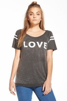 Chaser LA Love Open Back Raglan Tee in Vintage Black