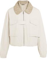 Bottega Veneta Silk Organza-trimmed Cotton-canvas Bomber Jacket - Off-white