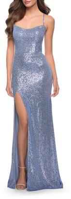 La Femme Sequin Open Back Gown