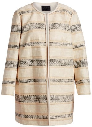 Lafayette 148 New York, Plus Size Pria Collarless Jacket