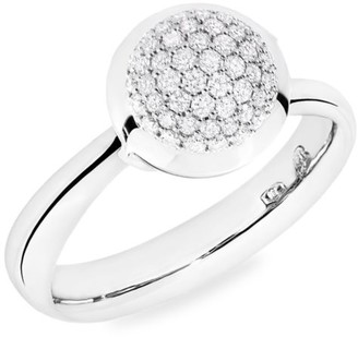 Tamara Comolli Small Bouton 18K White Gold & Diamond Pave Ring