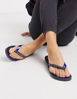 Ipanema Glam crystal toe thong flip flops in navy