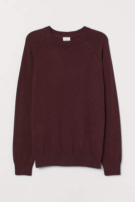 H&M Cotton Raglan-sleeved Sweater - Red
