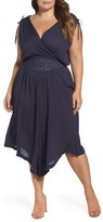 Plus Size Women's Wit & Wisdom Embroidered Faux Wrap Dress