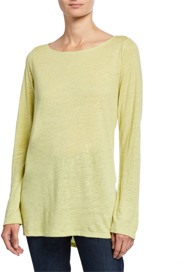 Eileen Fisher Petite Bateau-Neck Long-Sleeve Organic Linen Top