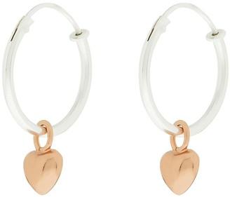 Accessorize St Rg Heart Charm Hoops - Metallic