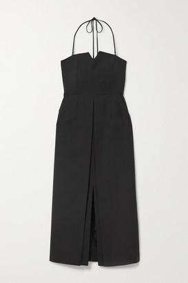 ENVELOPE1976 Net Sustain L.a. Wool-twill Halterneck Midi Dress - Black