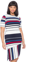 ELOQUII Plus Size Opposing Striped Hem Dress