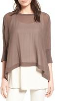 Eileen Fisher Petite Women's Knit Trim Boxy Silk Poncho Top