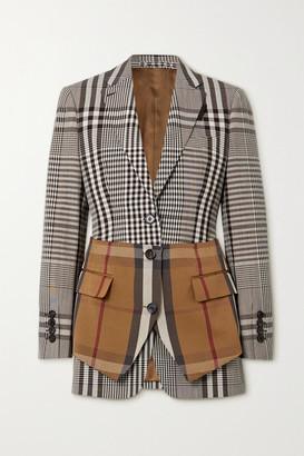 Burberry Paneled Checked Woven Blazer - Gray