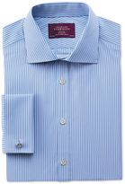Slim Fit Semi-cutaway Collar Luxury Poplin Stripe Sky Blue Cotton Formal Shirt Double Cuff Size 14.5/33 By Charles Tyrwhitt