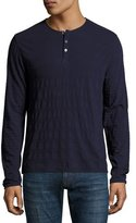 Zachary Prell Redwood Tonal-Stripe Henley Shirt, Navy