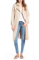 Women's Love Token Faux Suede Long Trench Coat