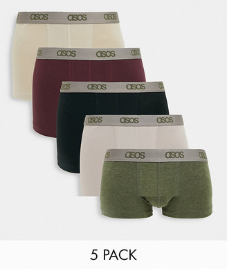 ASOS DESIGN 5 pack trunks with branded waistband save